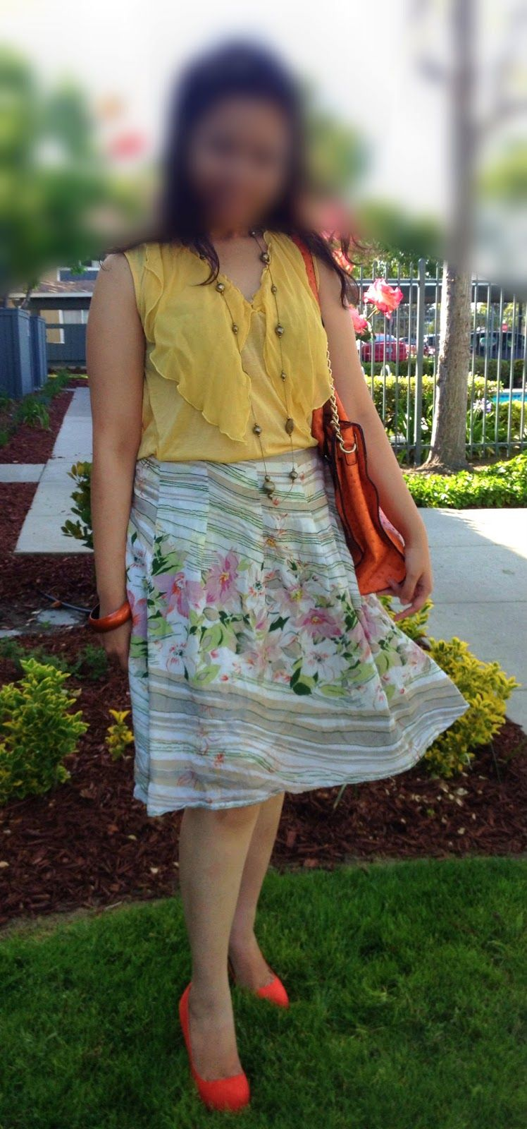 Yellow top floral skirt orange shoes and bag chele pinterest