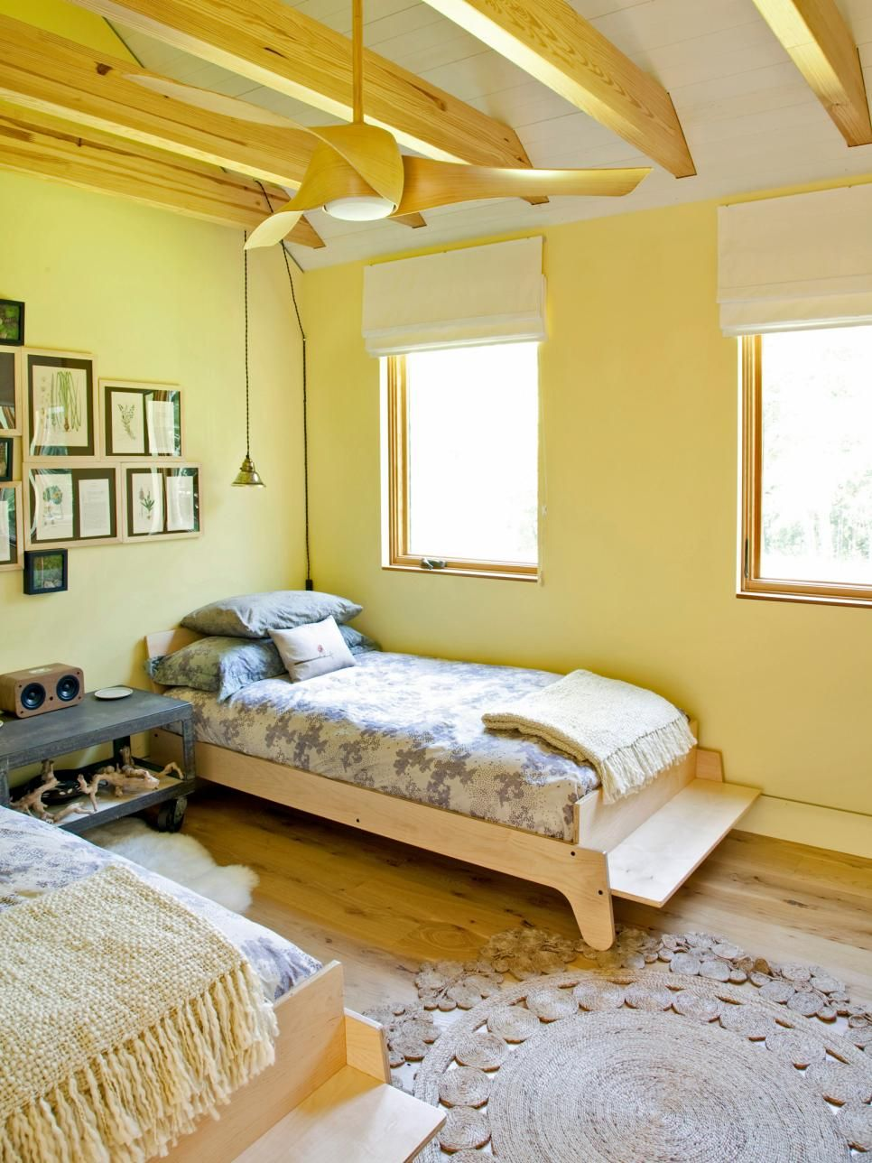 15 Cheery Yellow Bedrooms | Hgtv, Twin beds and Bedrooms