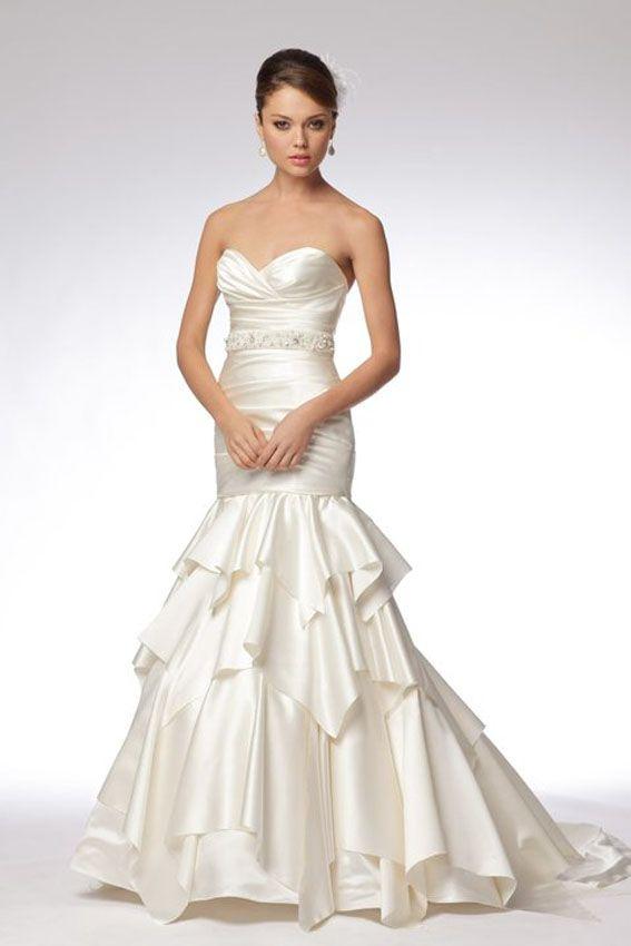 WTOO Bridal 16261 Ivory soft satin strapless draped mermaid gown ...