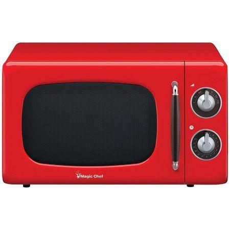 Magic Chef 0 7 Cu Ft 700w Retro Countertop Microwave Oven In Red Magic Chef Microwave Countertop Microwave Oven