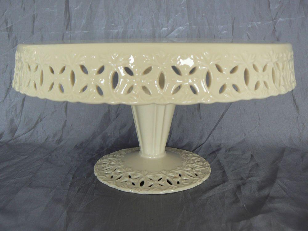 Godinger regal cream footed pedestal cake stand plate