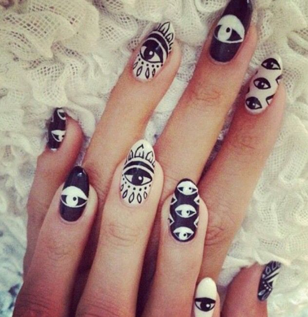 Evil Eye Nail Design Trendy Nail Art Designs Black And White Nail Art Nail Designs Unique