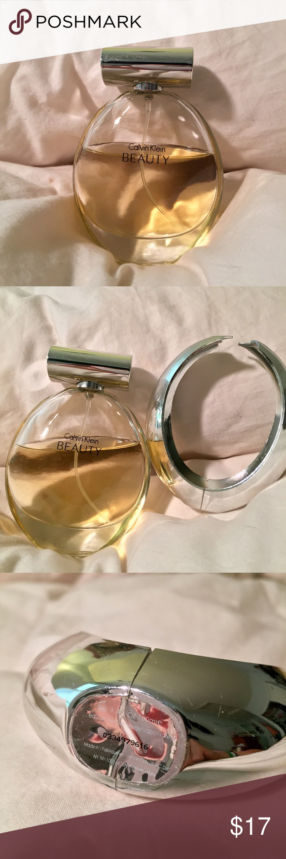 Calvin Klein Beauty EDP 100ml Eau de Parfum, 65% remaining. Plastic decoration/shell cracked and removed, bottle and contents undamaged. Calvin Klein Accessories