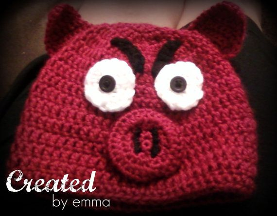 Arkansas Razorback Baby Hat by ShopCreated on Etsy, $22.00