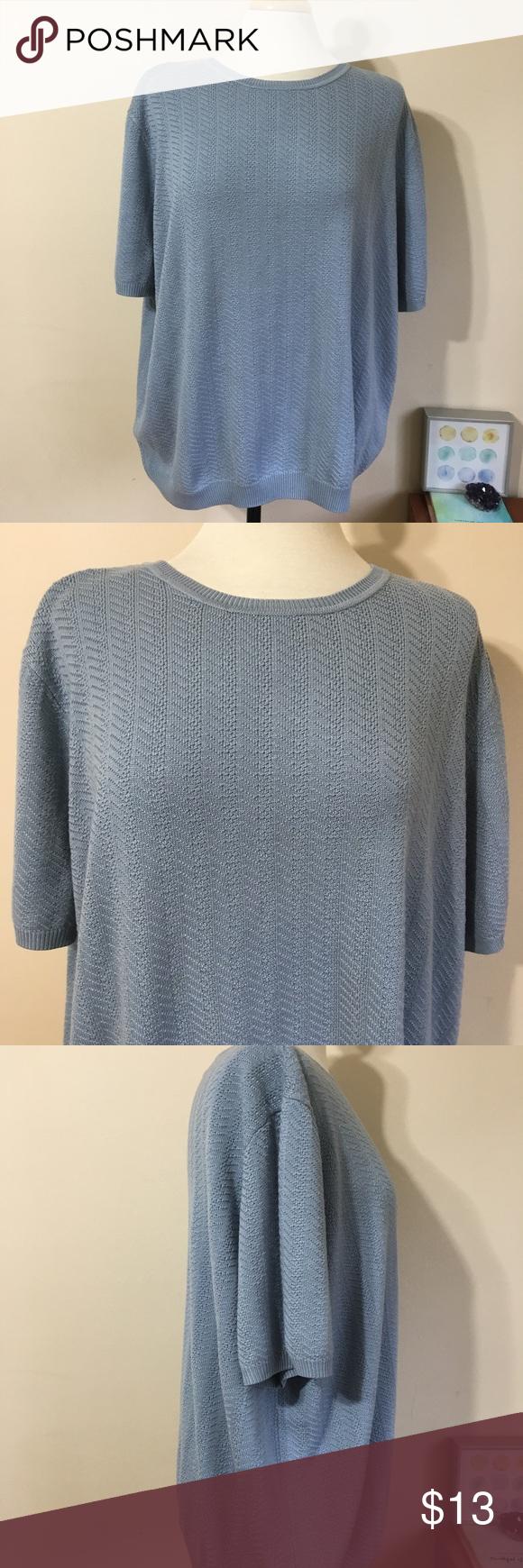 Alfred Dunner Light Blue Short Sleeve Knit Sweater | Acrylic ...