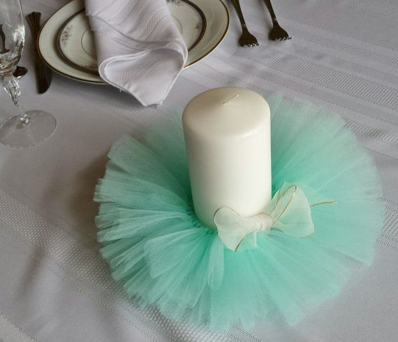 Wedding Reception Bridal Shower Baby Tulle Centerpiece Table Topper Decor Candle Accent