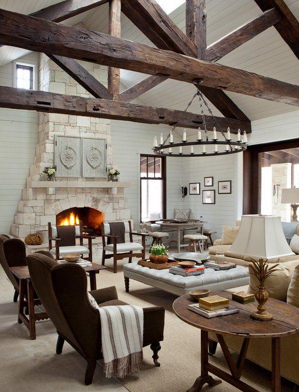 Living Room Ideas Farmhouse Design Exposed Beams Large Square
