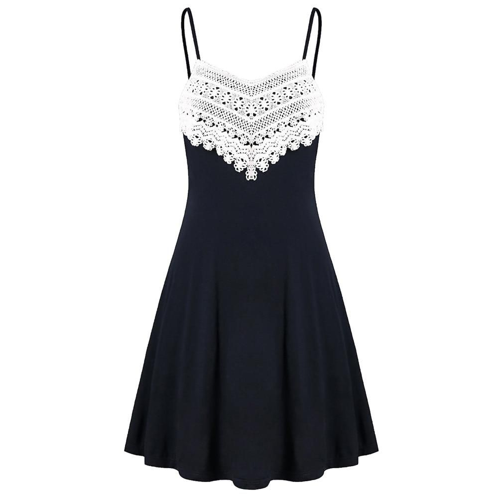 Women's Crochet Lace Backless Mini Slip Dress #shortsundress