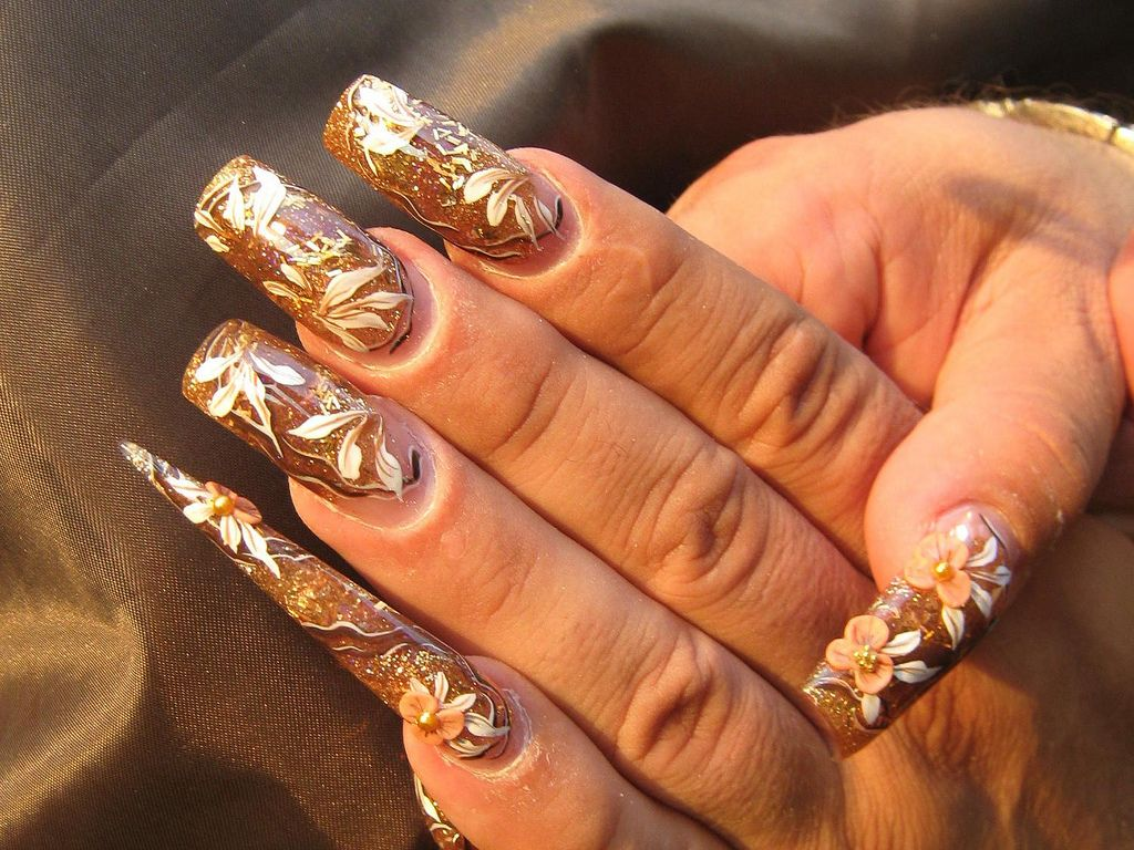 gold-floral-nails.jpg (1024×768) | LONG NAILS | Pinterest