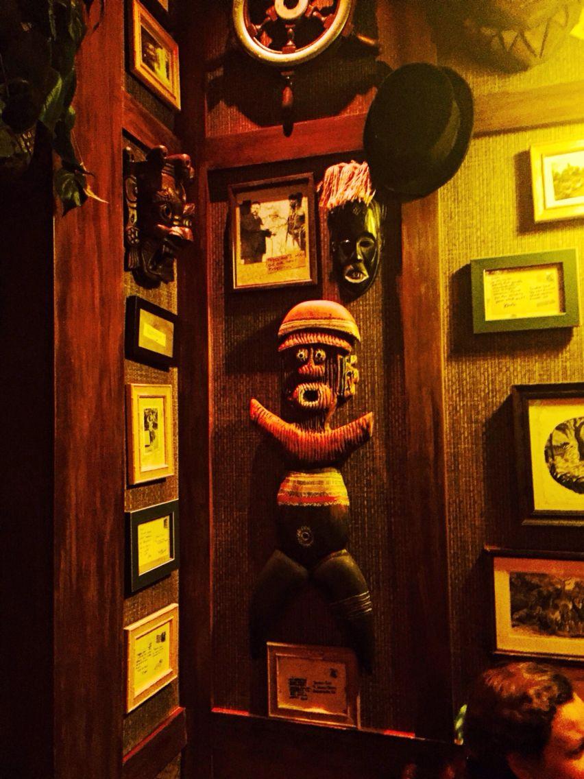 Tiki wall decor at Trader Sam's