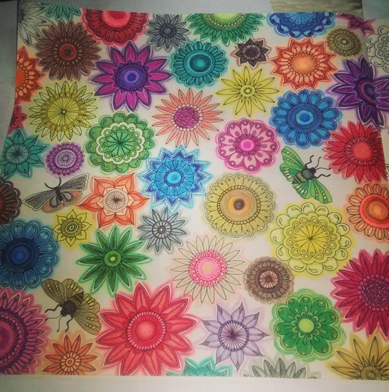Zendoodle coloring enchanting gardens - Double Page Flowers And Butterflies Secret Garden Folia Dupla Flores E Borboletas Jardim
