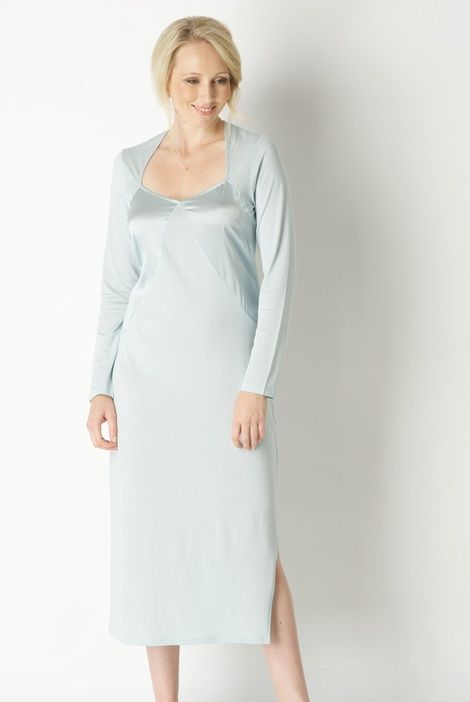 Lovely jade coloured long silk jersey nightdress with pure silk panels on  the bodice from Parisian designer Laurence Tavernier... UK online stockist  of top ... 68c9772fc0cc