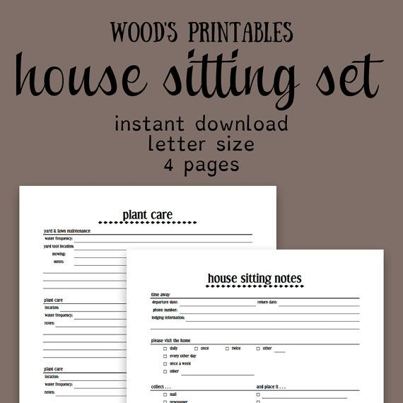 House Sitting Notebook PDF Printable Home By