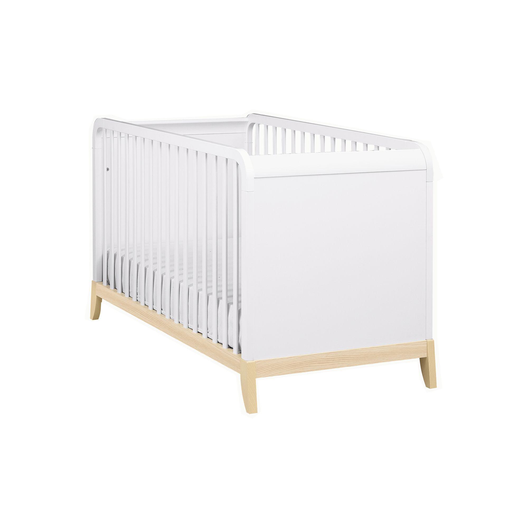 Lit bébé à barreaux 70x140cm Frêne/blanc - Flocon - Les lits ...
