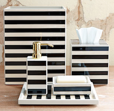 Black and white striped bathroom accessories  White