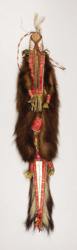 American Indian Art, A SIOUX QUILLED SKUNKSKIN BAG. . c. 1890. ...