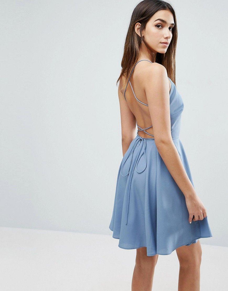 ASOS - Minikleid mit tiefem Ausschnitt und Schnürung am Rücken ...