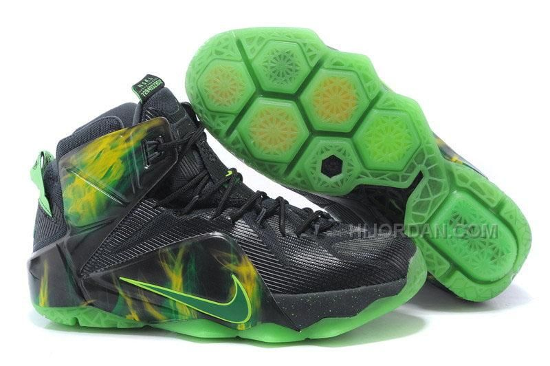 hot sales d2e24 8f08a 2015 Newest Nike LeBron 12 Black Green Basketball Shoes Cheap Online