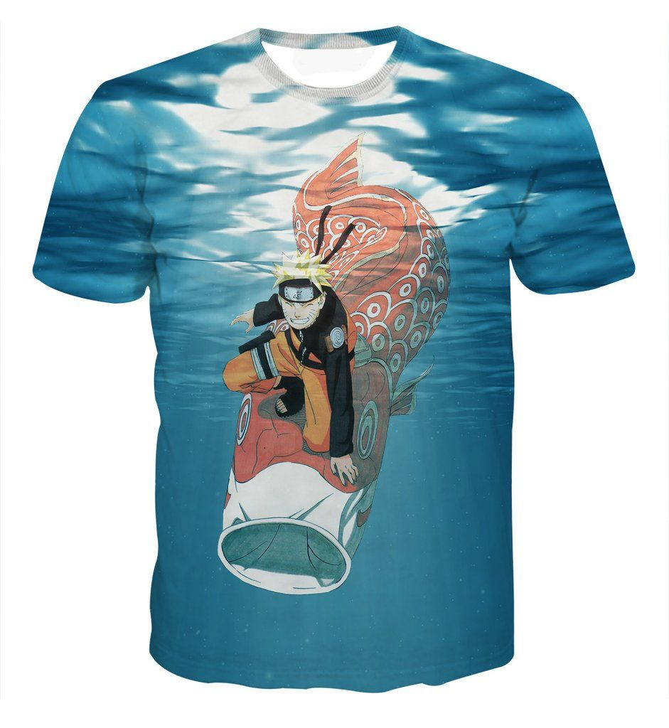 Famous Anime Naruto Colorful Koi Fish Under Water Trendy T Shirt