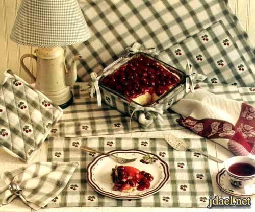 صور موديلات مفارش طاولات ومسكات للمطبخ باحلى الالوان