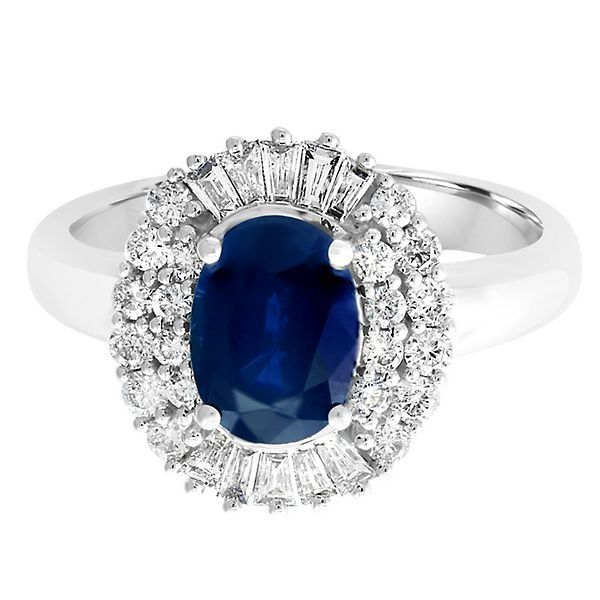 Effy Blue Sapphire 1 2 Ct Tw Diamond Ring In 14k White Gold 2254955 White Gold Rings Diamond Gorgeous Jewelry