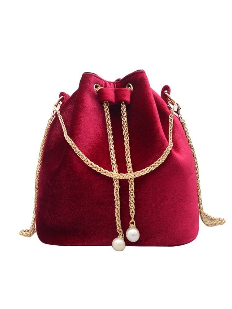 396c0665e5 Suede Bucket Bag With Chain Drawstring And Chain Strap In Red ...