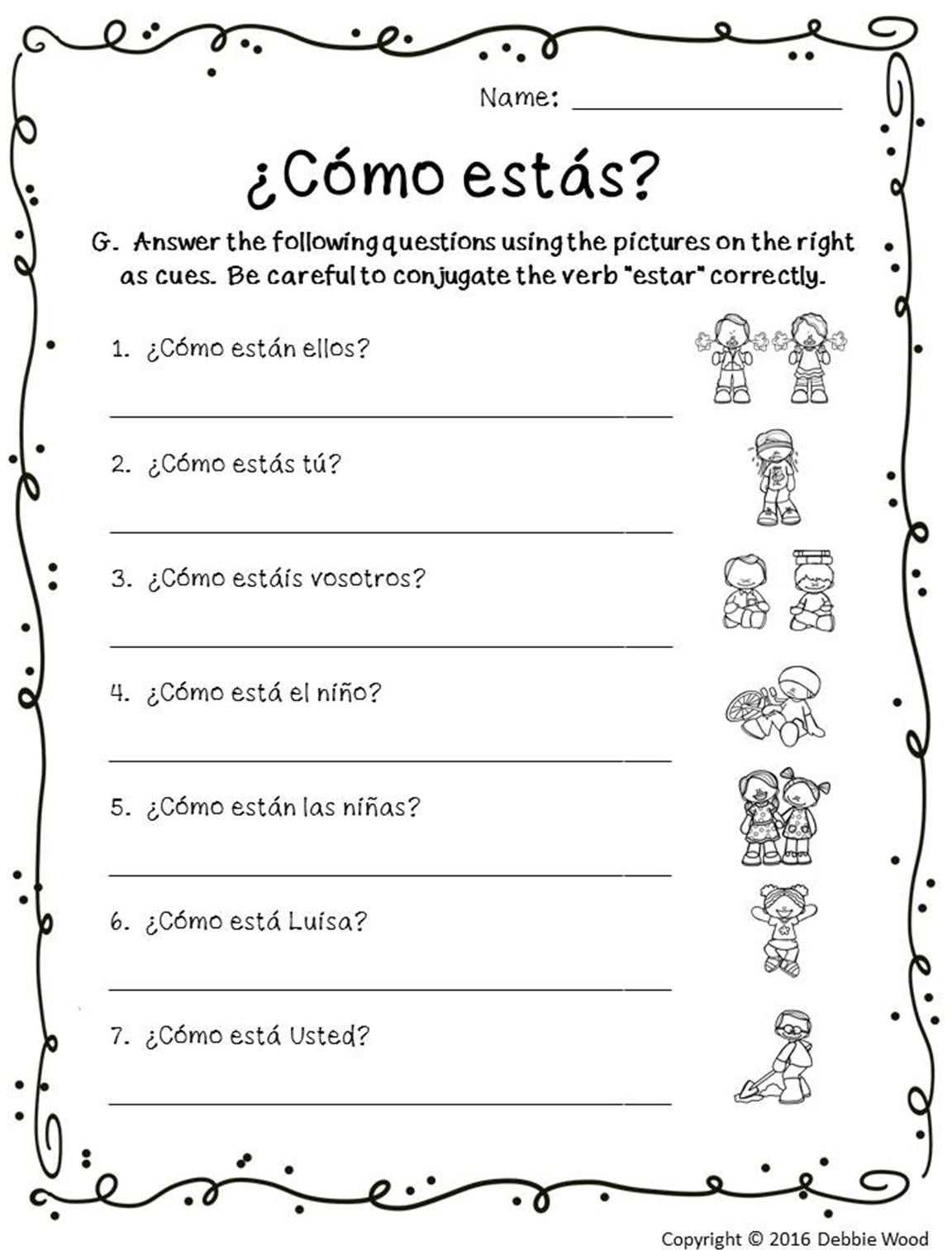 spanish verb estar posters and worksheets classroom d cor debbie wood spanish resources. Black Bedroom Furniture Sets. Home Design Ideas