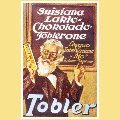 Erstes TOBLERONE PlakatDas erste TOBLERONE-Plakat entsteht 1915 und zeigt einen Lehrer, der vor einer Wandtafel steht und den Kindern das Produkt schmackhaft machen will.