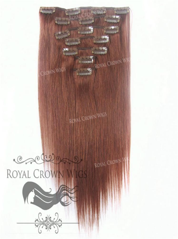 Brazilian 7 Piece Straight Human Hair Weft Clip In Extensions In 33