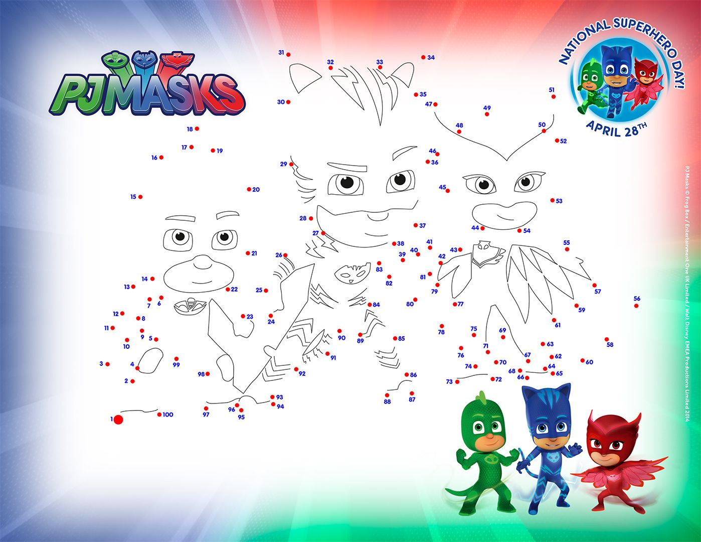 Pj masks coloring sheets printable - Pj Masks Connect The Dots Activity Page Get Ready For National Super Hero Day With Some Pj Masks Fun