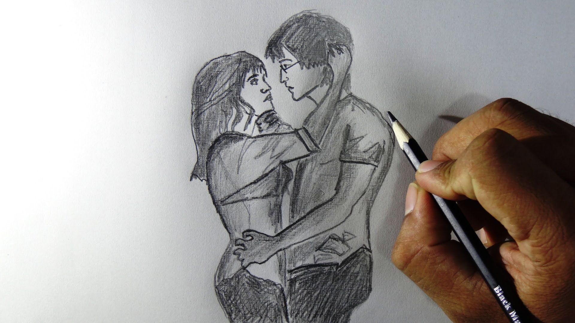 Beautiful pencil couple love feelings drawing 1920 x 1080 drawing wallpaper hd wallpaper