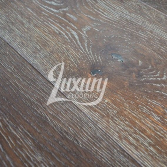 220mm Distressed Antique White Washed Chocolate Oiled Engineered Oak