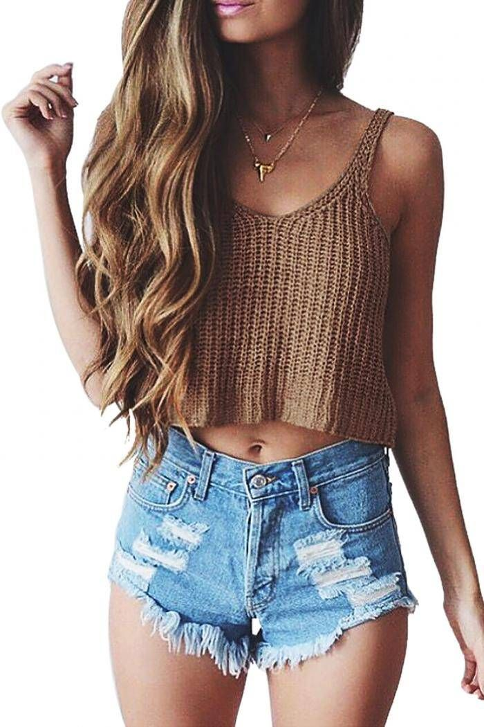 Kintted Cropped Top - US$6.99 | Clothes, Fashion, Outfits