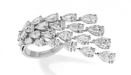 Composed of multiple pear-shaped diamonds, the Messika Joaillerie Diamond Wave ring (price upon request) sweeps across the width of two fingers—making double the statement. (messika.com)