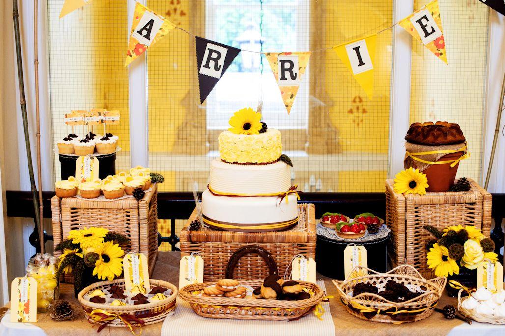 Sunflower themed rustic dessert table. Cakes, Weddings