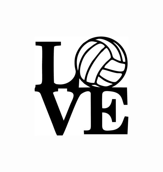 Love volleyball decal