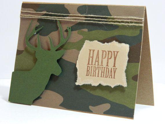 Deer Birthday Card Camouflage Birthday Card Handmade Birthday