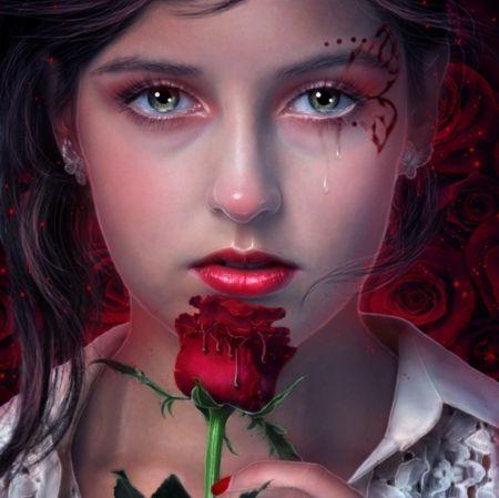 Broken Heart Beautiful Rose Girl Art Red Eyes Crying