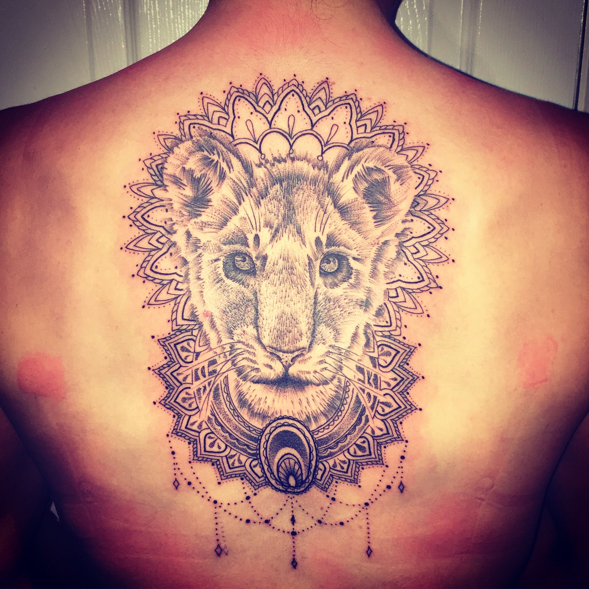 Lioness Mandala Female Back Tattoo Dot Work Black And Grey Back Tattoo Women Female Lion Tattoo Lioness Tattoo