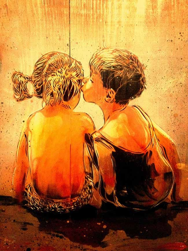 Affectionate Street Art by Stencil Artist C215