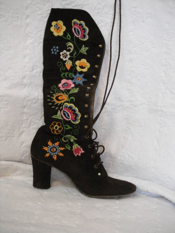 brown suede 60's boots with gorgeous embroidery