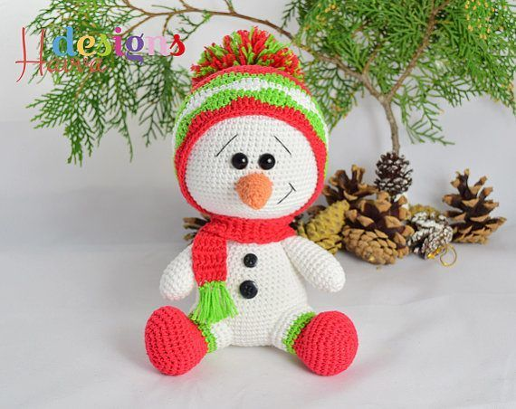 Crochet Snowman - Christmas Snowman - Amigurumi Snowman - Colored ... | 452x570
