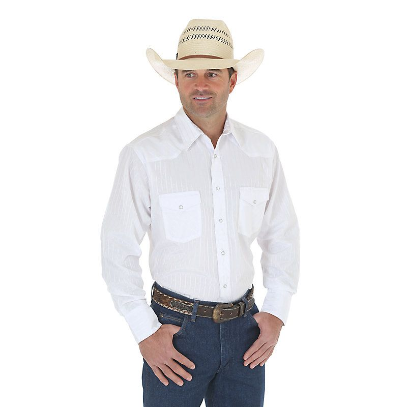 Wrangler Men's Silver Edition Long Sleeve Dobby Stripe Snap Shirt (Size: Regular Small)