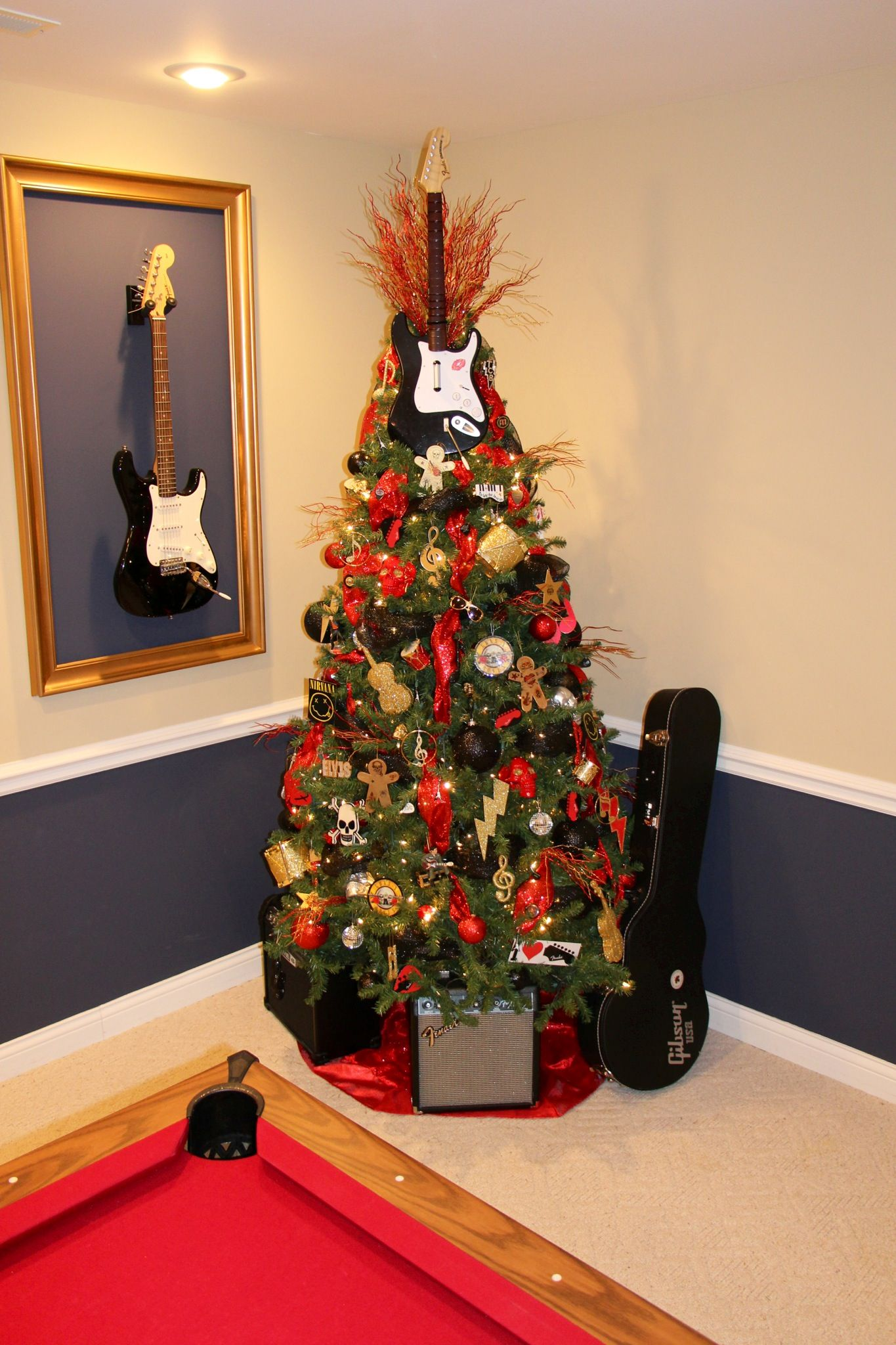Superb Rock N Roll Christmas Tree Tatted Gingerbread Man, Fender, Guitar Picks,  Elvis,