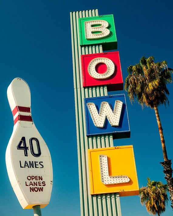 Mid Century Wall Art, Bowling Alley Neon Sign Print, Los