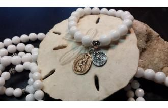 Alabaster Bracelet With Our Charms Of Mary At The Foot Of The