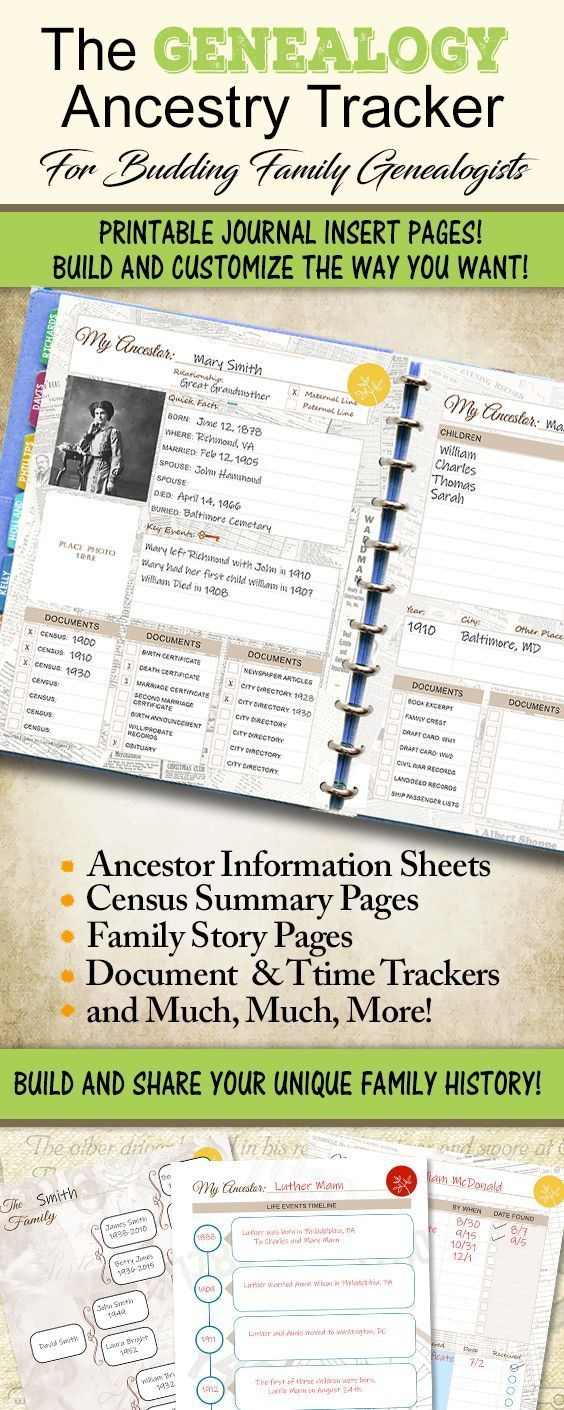 Photo of Genealogy Tracker | LETTER SIZE 8.5″ x11″ | Ancestry Printable Planner Insert Pages with Family Tree, Family Story, Census Pages and More
