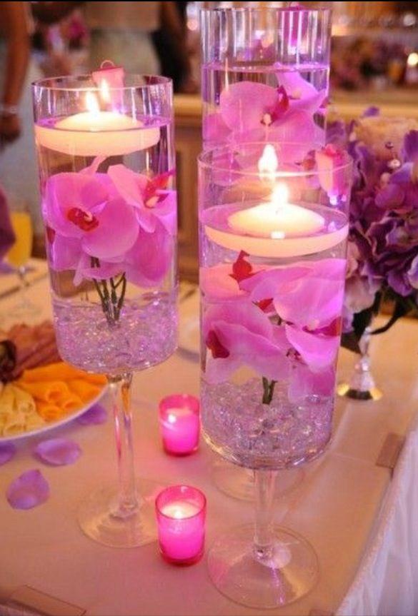 Decoración Eventos Boda Pack de 4-3 Colores Flotante Jazmín Flor Velas