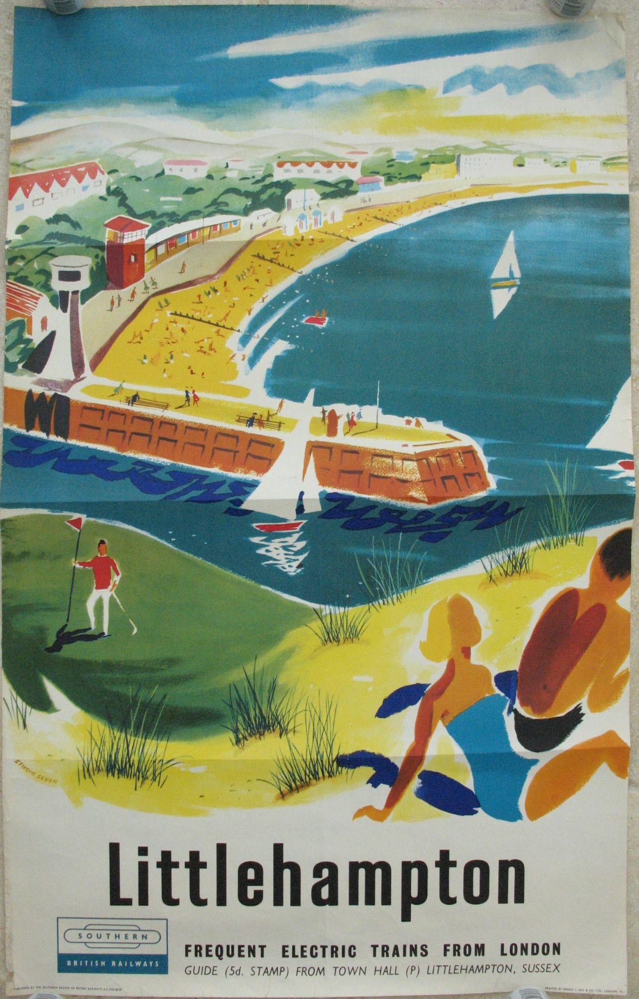 A4,A3,A2,A1 Vintage Retro Travel Poster LITTLEHAMPTON Home Wall Art Print