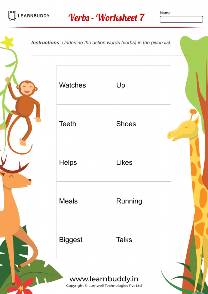 Free Downloadable English Worksheets Class 1 - Verbs - Worksheet 7  Worksheets For Class 1, Conjunctions Worksheet, Nouns And Verbs